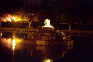The fountain in Culler Lake at night