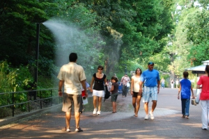 A misting station as you enter the National Zoo