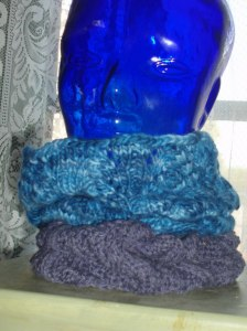 The blue cowl on top is Cathy's cowl