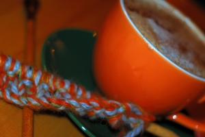 A great cup of pumpkin pie latte and a new knitting project