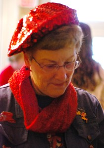 A family friend who wore a handknit cowl during the luncheon
