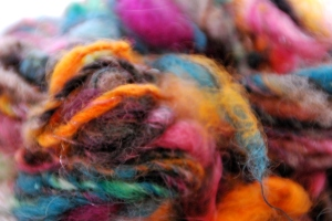 Art yarn spun from a batt I made.