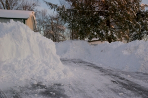 Looking up the driveway after being plowed out