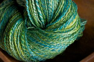A skein of handspun headed to Gernmany