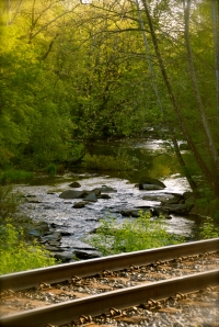 A view of the Patapsco River across the CSX railroad tracks